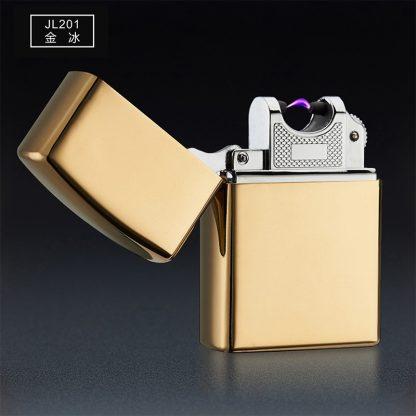 Купить USB зажигалка электроимпульсная - золотой глянец в Москве по недорогой цене